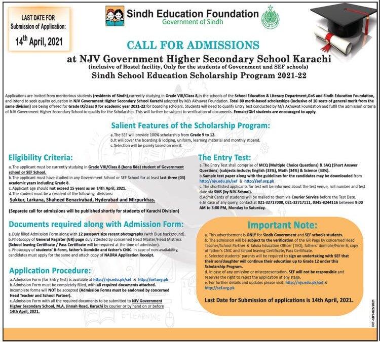 Apply for Sindh School Education Scholarship Program 2021-2022 (SSESP) 1 - Daily Medicos